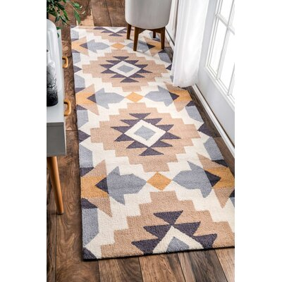Crispin Hand-Woven Mustard Area Rug Rug Size: Runner 26 x 8