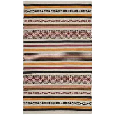 Vasquez Hand-Woven Red/Multi-Colored Area Rug Rug Size: Rectangle 26 x 4