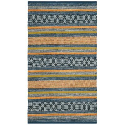 Gaillard Hand-Woven Blue/Orange Area Rug Rug Size: Rectangle 26 x 4