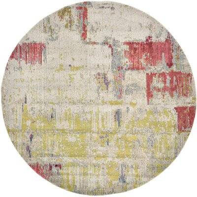 Ned Beige Neutral Area Rug Rug Size: Round 8