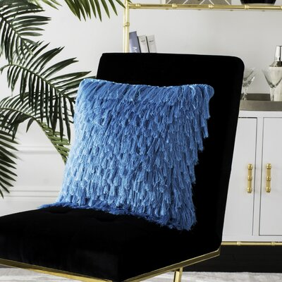 Zaid Shag Throw Cushion Size: 22 H x 22 W, Color: Electric Blue