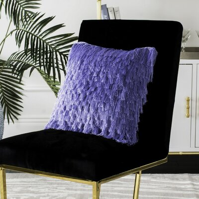 Zaid Shag Throw Cushion Size: 22 H x 22 W, Color: Lilac