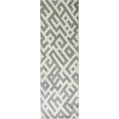 Lucus Hand-Tufted White/Taupe Area Rug Rug Size: Runner 26 x 8