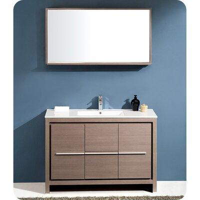 Allier Modern 48 Single Bathroom Vanity Set with Mirror Base Finish: Gray Oak
