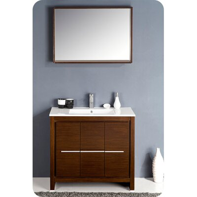Allier 36 Single Bathroom Vanity Set with Mirror Base Finish: Wenge Brown