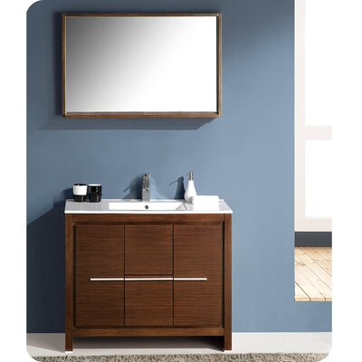 Allier 40 Single Bathroom Vanity Set with Mirror Base Finish: Wenge Brown