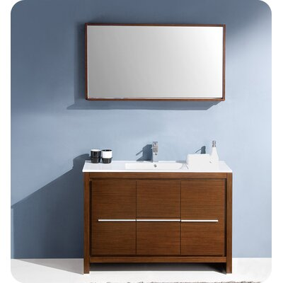 Allier Modern 48 Single Bathroom Vanity Set with Mirror Base Finish: Wenge Brown