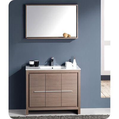 Allier 40 Single Bathroom Vanity Set with Mirror Base Finish: Gray Oak