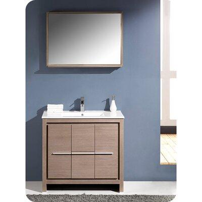 Allier 36 Single Bathroom Vanity Set with Mirror Base Finish: Gray Oak