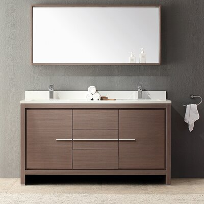 Allier 60 Double Modern Bathroom Vanity Set with Mirror Base Finish: Gray Oak