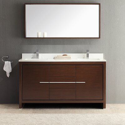 Allier 60 Double Modern Bathroom Vanity Set with Mirror Base Finish: Wenge Brown