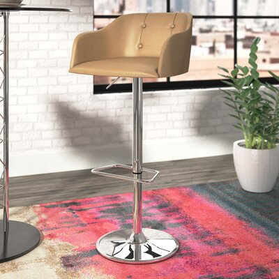 Duerr Adjustable Height Swivel Bar Stool Upholstery: Camel
