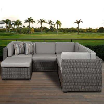 Lorentzen 6 Piece Deep Seating Group with Cushion Fabric: Deluxe Sunbrella Spectrum Dove