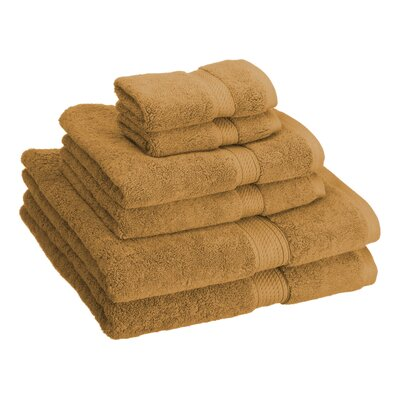 Cotton 6 Piece Towel Set Color: Rust