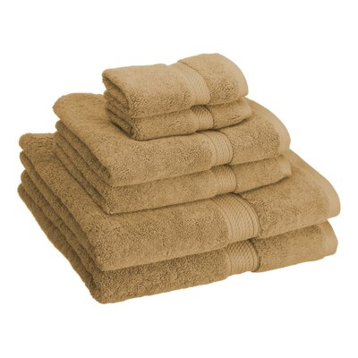Cotton 6 Piece Towel Set Color: Toast