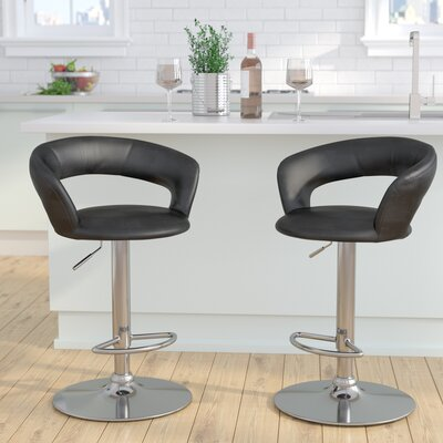 Evins Adjustable Height Swivel Bar Stool Upholstery: Black