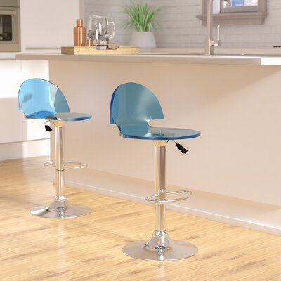 Stanhope Contemporary Adjustable Height Swivel Bar Stool Upholstery: Blue