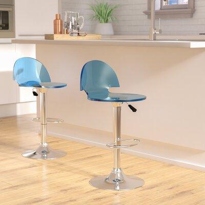 Matney Adjustable Height Swivel Bar Stool Upholstery: Blue