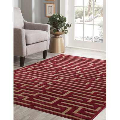 Teague Red/Brown Area Rug Rug Size: 53 x 76