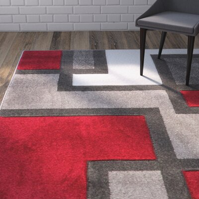 Venegas Imagination Squares Red Area Rug Rug Size: 93 x 126