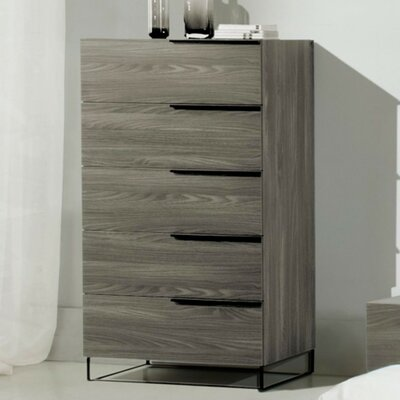 Lusher Walnut 5 Drawer Standard Chest Color: Gray Walnut Veneer