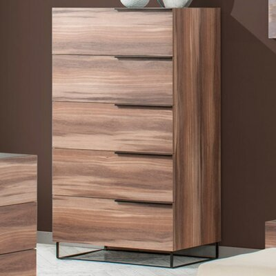 Lusher Walnut 5 Drawer Standard Chest Color: Walnut Veneer