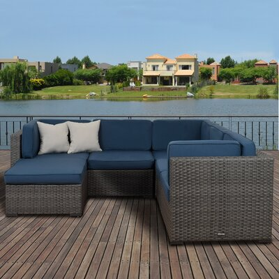 Lorentzen 6 Piece Deep Seating Group with Cushion Fabric: Blue
