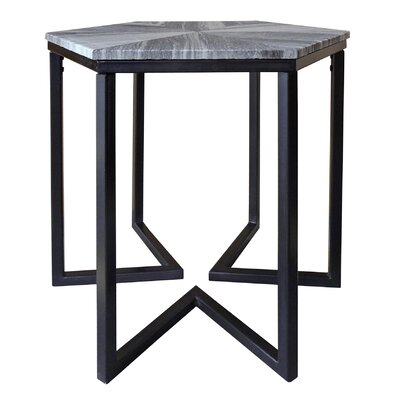 Alessandro Shaped Iron Base Hexagon End Table