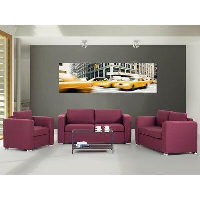 Cousins 3 Piece Living Room Set Upholstery: Burgundy