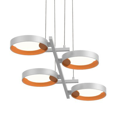 Tayler 4-Light LED Design Pendant Finish: Satin White/Apricot