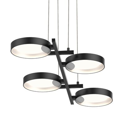 Tayler 4-Light LED Design Pendant Finish: Satin Black/White