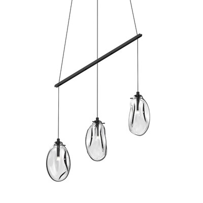 Tierra Linear Spreader 3-Light Kitchen Island Pendant Finish: Clear