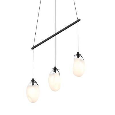 Tierra Linear Spreader 3-Light LED Cascade Pendant Finish: Poured White