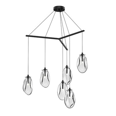 Tierra Tri-Spreader 6-Light Cluster Pendant Shade Finish: Clear
