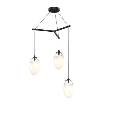 Tierra Tri-Spreader 3-Light Cluster Pendant Finish: Poured White