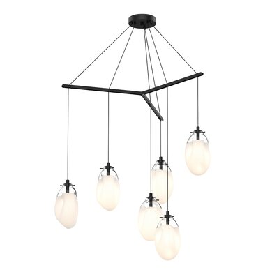 Tierra Tri-Spreader 6-Light Cluster Pendant Shade Finish: Poured White