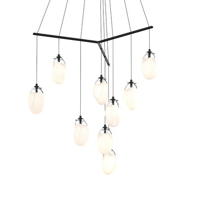 Tierra Tri-Spreader 9-Light LED Cascade Pendant Shade Finish: Poured White