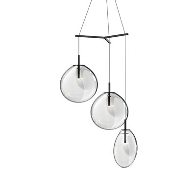 Haleigh Tri-Spreader 3-Light Cluster Pendant Shade Finish: Clear, Size: 19.25 H x 36 W x 36 D