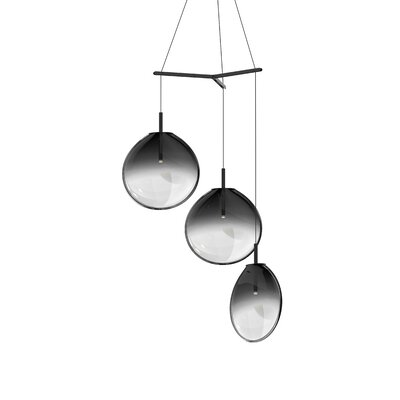 Haleigh Tri-Spreader 3-Light Cluster Pendant Shade Finish: Smoke Fade, Size: 19.25 H x 36 W x 36 D