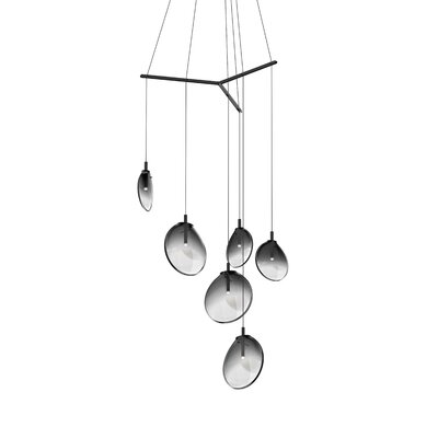 Haleigh Tri-Spreader 6-Light Cluster Pendant Shade Finish: Smoke Fade