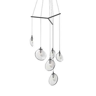 Haleigh Tri-Spreader 6-Light Cluster Pendant Shade Finish: Clear