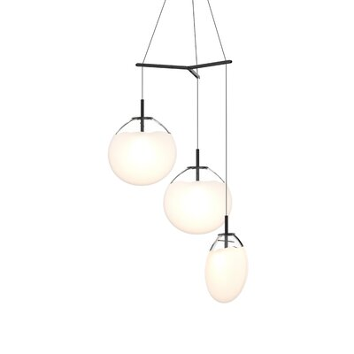 Haleigh Tri-Spreader 3-Light Cluster Pendant Shade Finish: Poured White, Size: 19.25 H x 36 W x 36 D