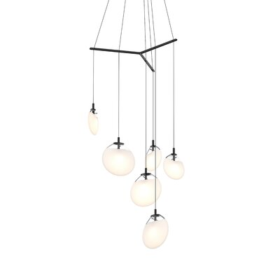 Haleigh Tri-Spreader 6-Light LED Cascade Pendant Shade Finish: Poured White