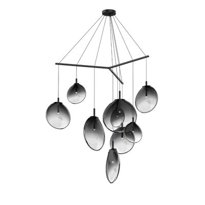 Haleigh Tri-Spreader 9-Light Cluster Pendant Shade Finish: Smoke Fade