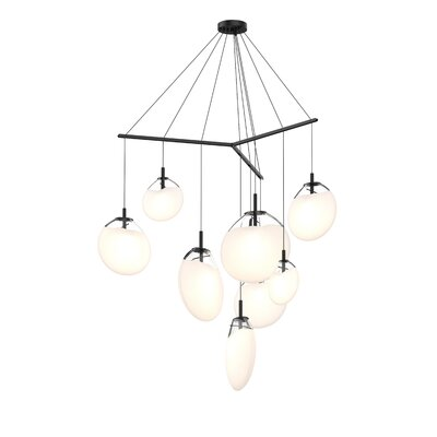 Haleigh Tri-Spreader 9-Light Cluster Pendant Shade Finish: Poured White