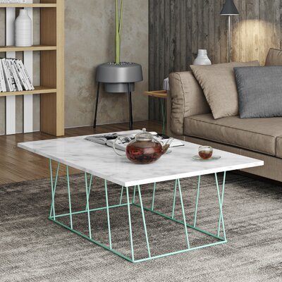 Grimes Coffee Table with Magazine Rack Base Color: Sea Green Lacquered Steel, Top Color: White Marble