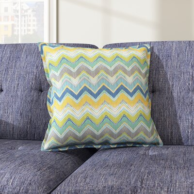 Murrah Chevron Flange Square Indoor/Outdoor  Polyester Throw Pillow Size: 22 x 22, Color: Pacific