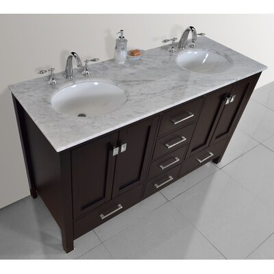 Ankney 60 Double Bathroom Vanity Set Base Finish: Espresso