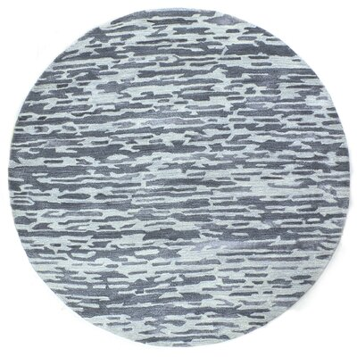 Galle Hand-Tufted Blue Area Rug Rug Size: Round 8