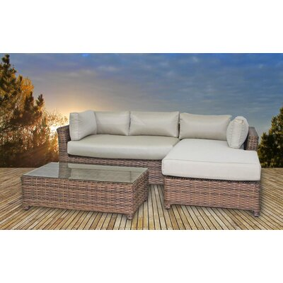 Dutil 3 Piece Deep Seating Group with Cushions Frame Finish: Brown